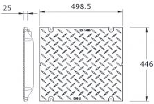 MEADRAIN EN4000 Решетка плътна чугун E600 L=0.5 м с болт. закл.