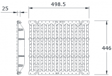 MEADRAIN 4000 Решетка шлиц 15/125 чугун клас F900 L=0.5 м с болт. закл.