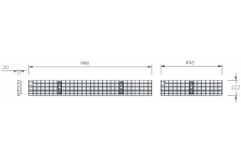 MEADRAIN 1000 Решетка меш 30/10 клас A15 L=1.0 м CLIPFIX